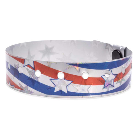 "Holographic Expressions Plastic Wristbands 3/4"" Liberty Design 4832HS - Silver (500/Box) - Wristbands.com"
