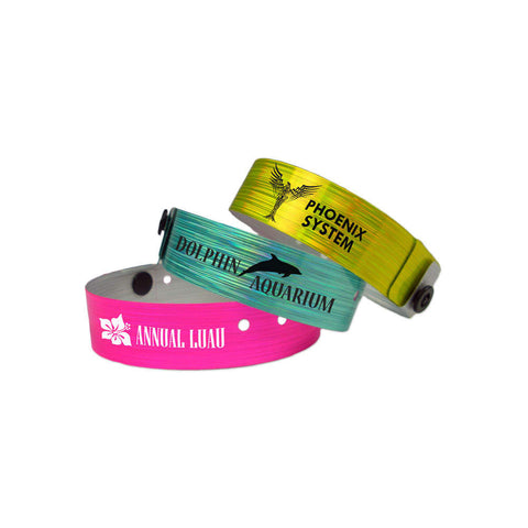 "Imprinted Rain 3/4"" Custom Holographic Wristbands 4840 (500/Box) - Wristbands.com"