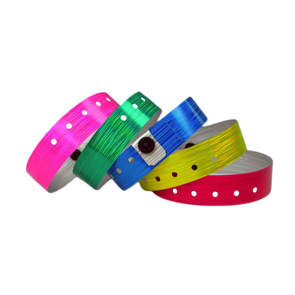 "Holographic Plastic Wristbands 3/4"" Rain Design 4840 (500/Box) - Wristbands.com"