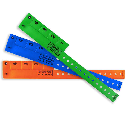 "4-Tab Wrist-Rider® Wristicket® Vinyl 3/4"" Wristbands 4TSP - 500/Box - Wristbands.com, The No.1 Wristband Store in the World"