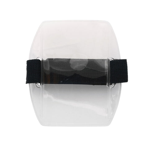 "Vinyl Vertical Arm Band Badge Holder with Strap, 2.75"" x 3.8"" - Clear (25/Box) - Wristbands.com"