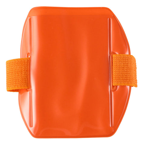 "Vinyl Vertical Arm Band Badge Holder, 2.38"" x 3.38"" - Fluorescent Orange (25/Box) - Wristbands.com"