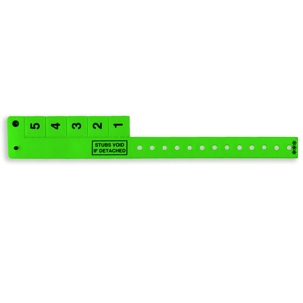 "5-Tab Wrist-Rider® Wristicket® Vinyl 3/4"" Wristbands 5TSP - 500/Box - Wristbands.com, The No.1 Wristband Store in the World"