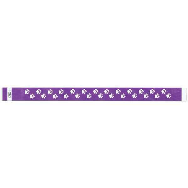 "Tytan Band® Expressions Tyvek Wristbands 3/4"" Paw Prints Design NTX06 - Purple (500/Pack)"