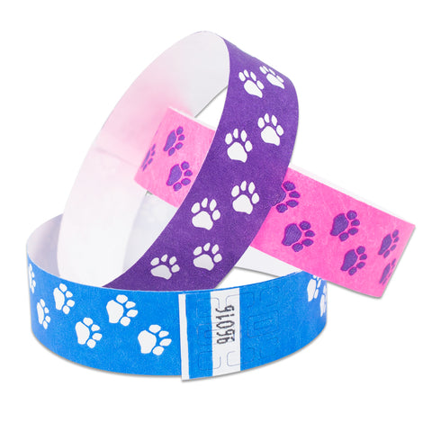 "Tytan Band® Expressions Tyvek Wristbands 3/4"" Paw Prints Design NTX06 (500/Pack)"