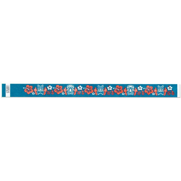 "Tytan Band® Expressions Tyvek 3/4"" Tiki Design Wristbands NTX101 - Teal - 500/Pack - Wristbands.com, The No.1 Wristband Store in the World"