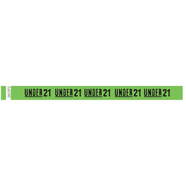 "Tytan Band® Expressions Tyvek Wristbands 3/4"" 'Under 21' Design NTX104 (500/Pack) Clearance - Wristbands.com"