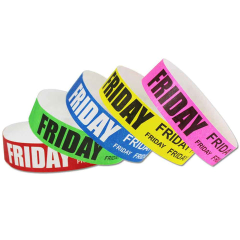 "Tytan® Band Expressions Tyvek 3/4"" Friday Design Wristbands NTX111- 500/Pack - Wristbands.com, The No.1 Wristband Store in the World"