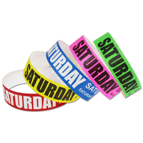 "Tytan® Band Expressions Tyvek 3/4"" Saturday Design Wristbands NTX112 - 500/Pack - Wristbands.com, The No.1 Wristband Store in the World"