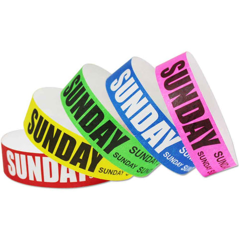 "Tytan® Band Expressions Tyvek 3/4"" Sunday Design Wristbands NTX113 - 500/Pack - Wristbands.com, The No.1 Wristband Store in the World"