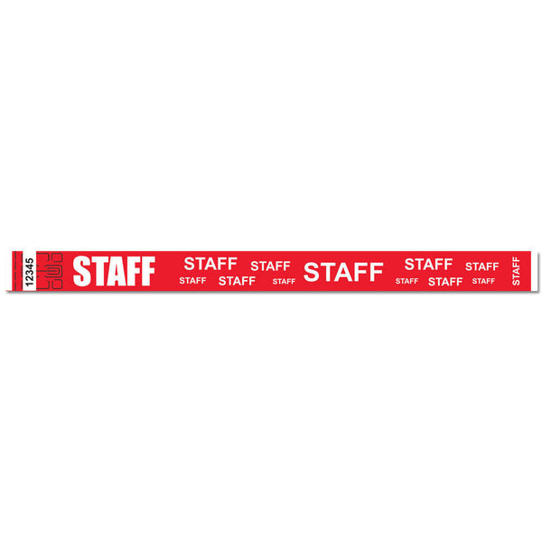 "Tytan® Band Expressions Tyvek 3/4"" Staff Design Wristbands NTX116 - Red - 500/Pack"