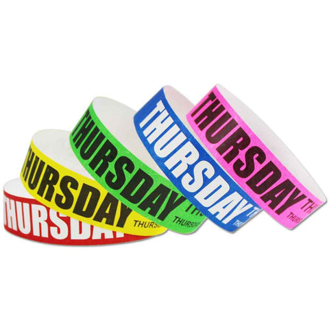 "Tytan® Band Expressions Tyvek 3/4"" Thursday Design Wristbands NTX119 - 500/Pack - Wristbands.com, The No.1 Wristband Store in the World"