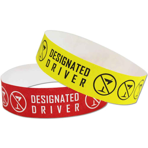 "Tytan® Band Expressions Tyvek 3/4"" Designated Driver Design Wristbands NTX120 - 500/Pack - Wristbands.com, The No.1 Wristband Store in the World"