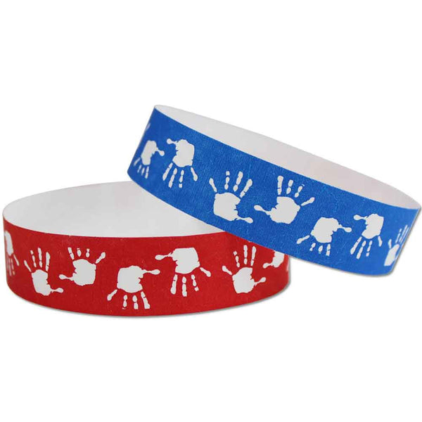 "Tytan® Band Expressions Tyvek Wristbands 3/4"" Hand Prints Design NTX121 (500/Pack) - Wristbands.com"