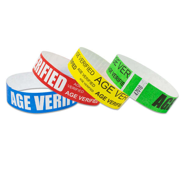 "Tytan® Band Expressions Tyvek Wristbands 3/4"" Age Verified Design NTX125 (500/Pack) - Wristbands.com"