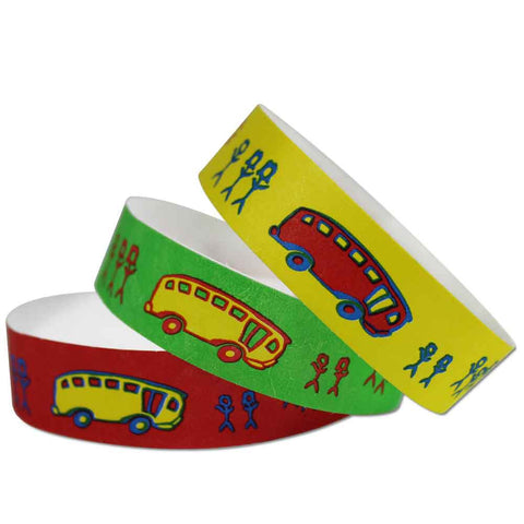 "Tytan Band® Expressions Tyvek 3/4"" School Bus Design Wristbands NTX17 - 500/Pack - Wristbands.com, The No.1 Wristband Store in the World"