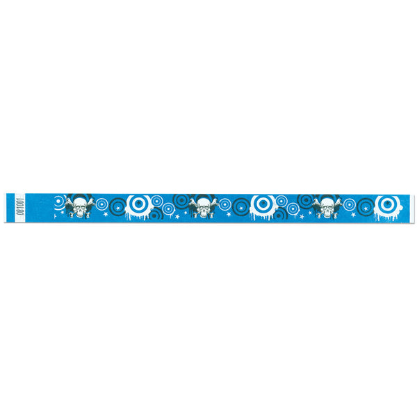 "Tytan Band® Expressions Tyvek 3/4"" Skulls Design Wristbands NTX94- Blue - 500/Pack - Wristbands.com, The No.1 Wristband Store in the World"