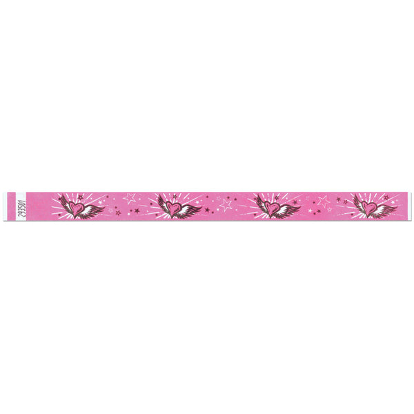 "Tytan Band® Expressions Tyvek 3/4"" Flying Hearts Design Wristbands NTX95 - Day Glow Pink Color - 500/Pack - Wristbands.com, The No.1 Wristband Store in the World"