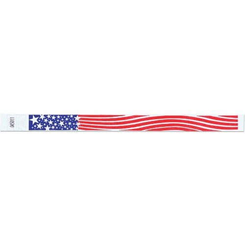 "Tytan Band® Expressions Tyvek 3/4"" Patriotic Design Wristbands NTX99 - White - 500/Pack - Wristbands.com, The No.1 Wristband Store in the World"