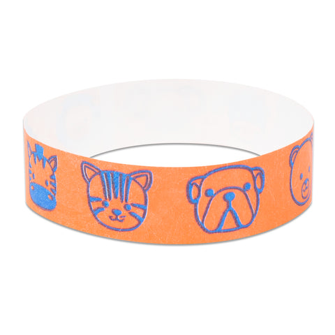 "Tytan® Band Expressions Tyvek Wristbands 3/4"" Animals Design NTX127 (500/Pack) - Wristbands.com"