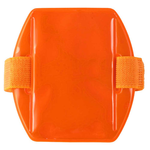 "Vinyl Vertical Arm Band Badge Holder, 2.38"" x 3.38"" - Reflective Orange (25/Box) - Wristbands.com"