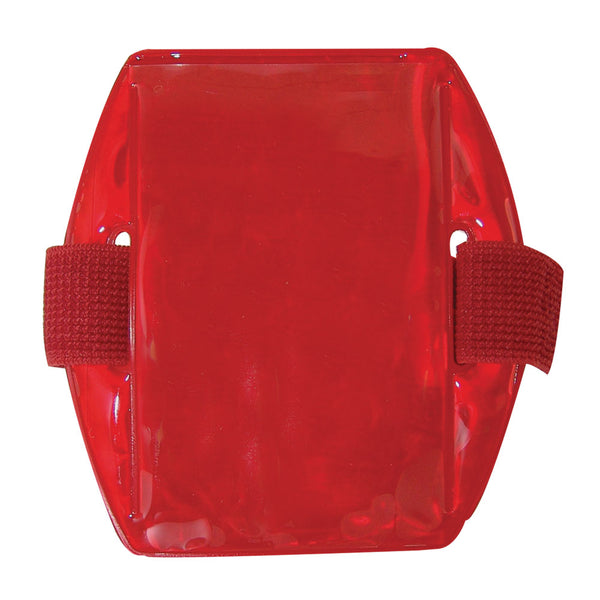 "Vinyl Vertical Arm Band Badge Holder, 2.38"" x 3.38"" - Reflective Red (25/Box)"