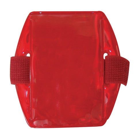 "Vinyl Vertical Arm Band Badge Holder, 2.38"" x 3.38"" - Reflective Red (25/Box) - Wristbands.com"