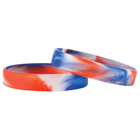 "American Marble Design 1/2"" Silicone Wristbands - White (100/Package) - Wristbands.com"