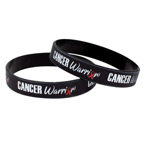 "Silicone Wristbands Color Fill Debossed 1/2"" Cancer Warrior Design - Black (25/Pack) - Wristbands.com"