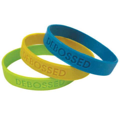 "Debossed & Imprinted 1/2"" Custom Silicone Wristbands SILDCI - CHILD (100/Pack) - Wristbands.com"