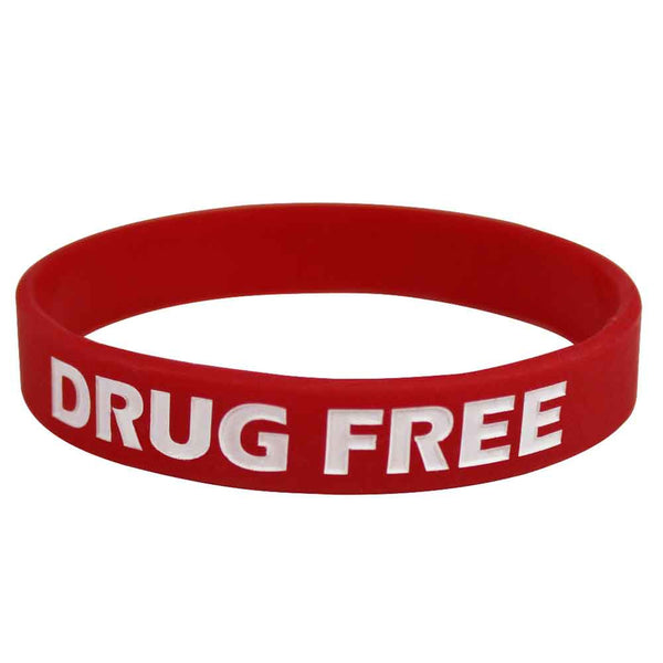 "Silicone Wristbands Color Fill Debossed 1/2"" Drug Free Design - Red (100/Pack) - Wristbands.com"
