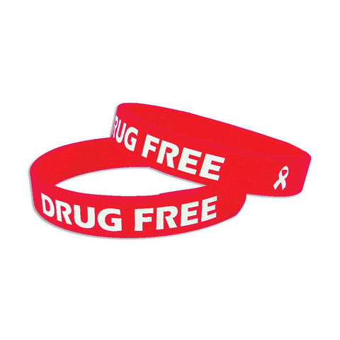 "Silicone Color Fill Debossed 1/2"" Drug Free Design Custom Wristbands SILDFA Adult Size - Red Color - 100/Pack - Wristbands.com, The No.1 Wristband Store in the World"