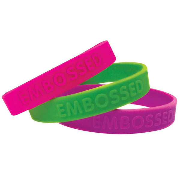 "Embossed & Imprinted 1/2"" Custom Silicone Wristbands SILEAI - ADULT (100/Package) - Wristbands.com"