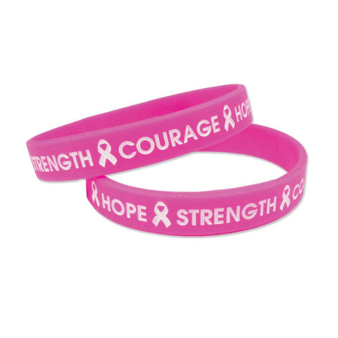 "Silicone Color Fill Debossed 1/2"" Hope Design Wristbands SILHA Adult Size - Hot Pink - 100/Pack - Wristbands.com, The No.1 Wristband Store in the World"