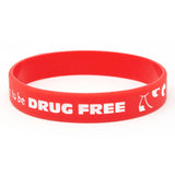 "Silicone 1/2"" Wristbands Happy To Be Drug Free (100/Pack) - Wristbands.com"