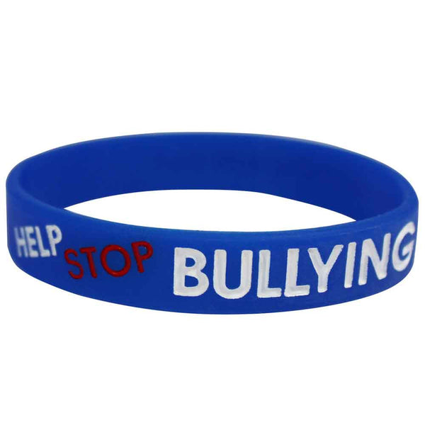 "Silicone Wristbands Color Filled Debossed 1/2"" Help Stop Bullying! Stand Up and Speak Out - Blue (100/Pack) - Wristbands.com"