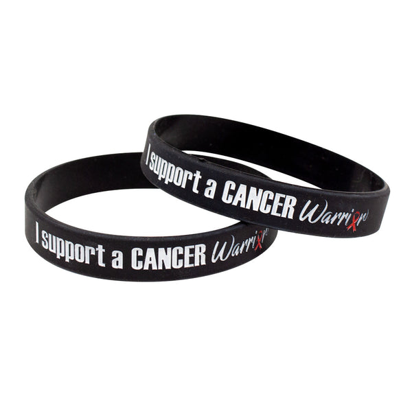 "Silicone Wristbands Color Fill Debossed 1/2"" I Support A Cancer Warrior Design - Black (25/Pack) - Wristbands.com"