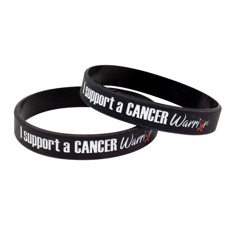 "Silicone Wristbands Color Fill Debossed 1/2"" I Support A Cancer Warrior Design - Black (25/Pack)"