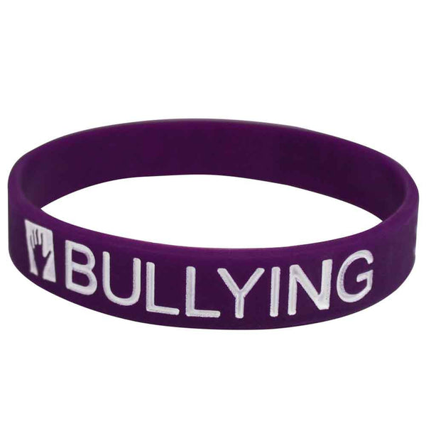 "Silicone Color Filled Debossed 1/2"" Words Hurt-Bullying-Save A Life Wristbands - Grape - 100/Pack"