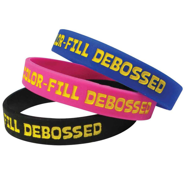 "Color Fill Debossed Imprinted 1/2"" Custom Silicone Wristbands SILSDCI - CHILD (100/Pack) - Wristbands.com"