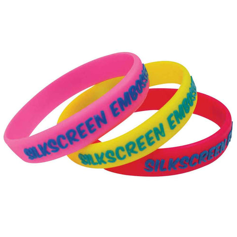 "Silkscreen, Embossed, Imprinted 1/2"" Custom Silicone Wristbands SILSEAI - ADULT (100/Pack) - Wristbands.com"