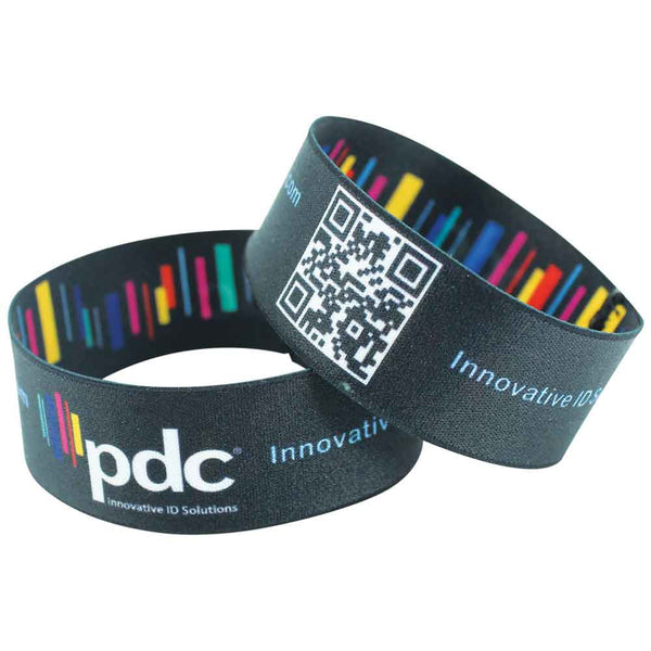 "Woven 1"" Stretch Custom Imprinted Wristbands Full Color (50/Pack)"