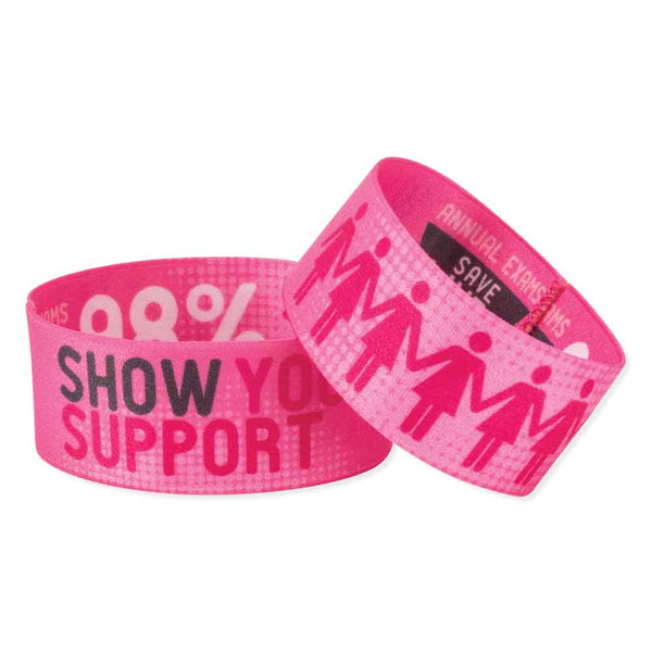 "Woven Polyester/Nylon 1"" Full Color, Dual Sided, Show Your Support Design Wristbands - Pink - 50/Pack"