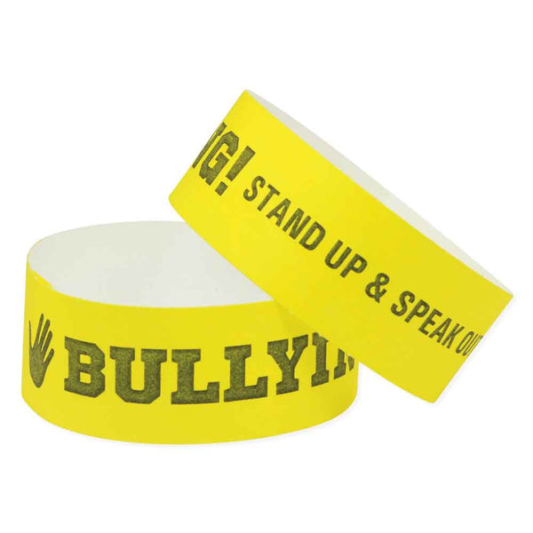 "Speedi-Band® Tyvek 1"" Bullying Wristbands TENSBU - Yellow (10/Sheet) - Wristbands.com"