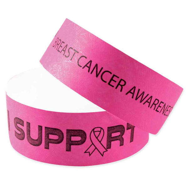 "Speedi-Band® Expressions Tyvek 1"" I Support Breast Cancer Awareness Design Wristbands TENSIS - Day Glow Pink (10/Sheet) - Wristbands.com"