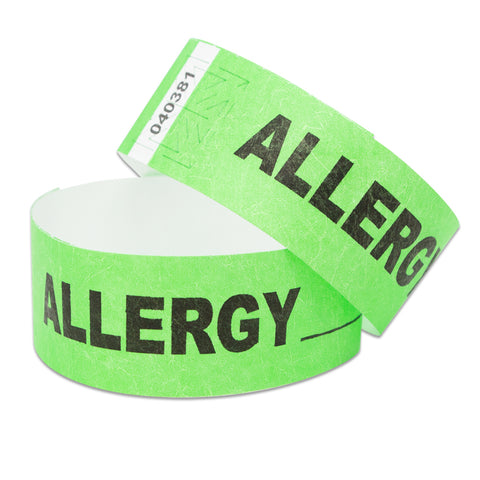 "Speedi-Band® Expressions Tyvek 1"" Allergy Wristbands TENSSAL - Lime (10/Sheet) - Wristbands.com"