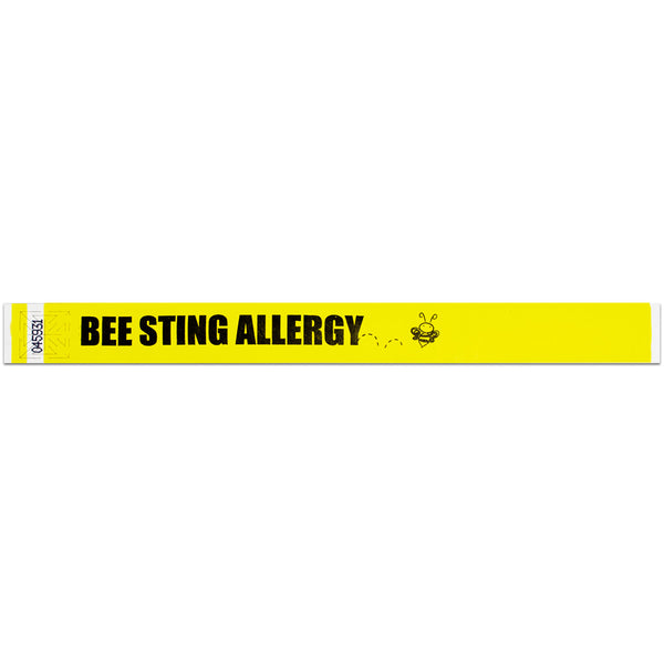 "Speedi-Band® Expressions Tyvek 1"" Bee Allergy Wristbands TENSSBA - Yellow - 10/Sheet - Wristbands.com"