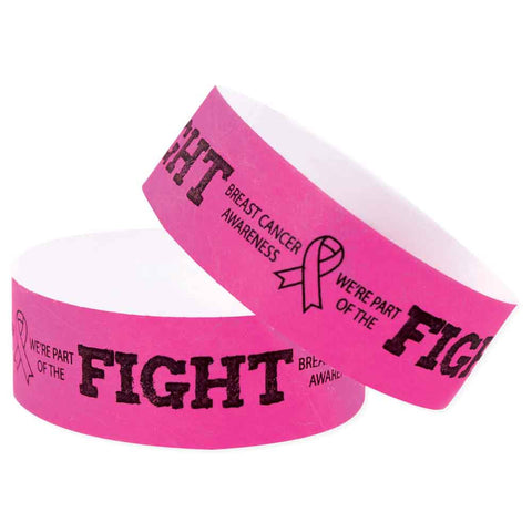 "Speedi-Band® Expressions Tyvek 1"" Fight Like A Girl Design Wristbands TENSWF - Day Glow Pink (10/Sheet) - Wristbands.com"