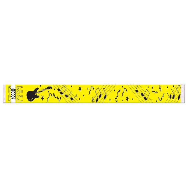 "Tytan Band® Expressions Tyvek Wristbands 1"" Rock Design TX01 - Yellow (500/Pack) Clearance - Wristbands.com"