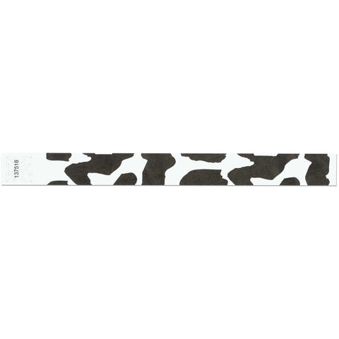 "Tytan Band® Expressions Tyvek 1"" Cow Design Wristbands TX04 - White - 500/Pack - Clearance"